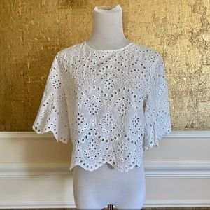 Zara white eyelet crop  top M